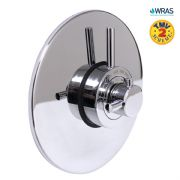Modern Concealed Concentric Solid Brass Dual Thermostatic Bathroom Shower Mixer Valve | 1 Outlet 2 Handles | EcoSpa®